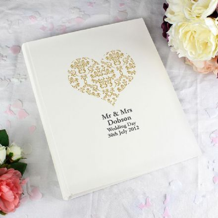 Personalised Gold Damask Heart Traditional Photo Album